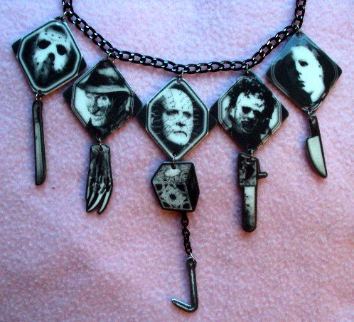 Horror Movie Killers Necklace, MADE TO ORDER, Michael Myers, Pinhead, Leatherface, Jason Voorhees, Freddy Krueger, gothic, unique, strange on Etsy, $15.00
