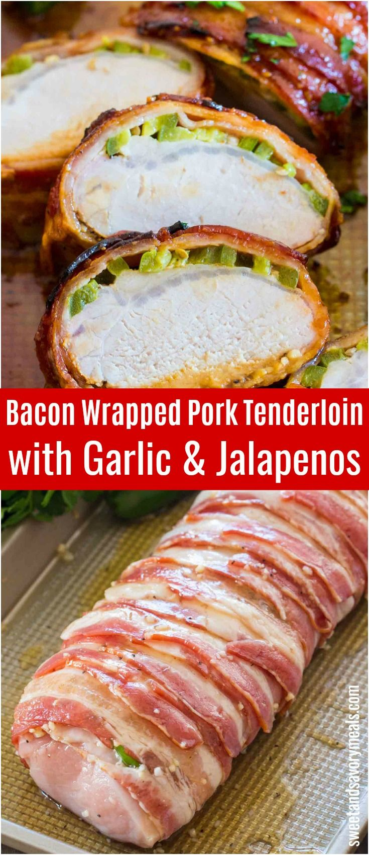 Bacon Wrapped Pork Tenderloin is crispy on the outside and juicy on the inside. Made with garlic, honey and jalapeños for extra flavor. #porkrecipes #porktenderloin #bacon #onepan #pork