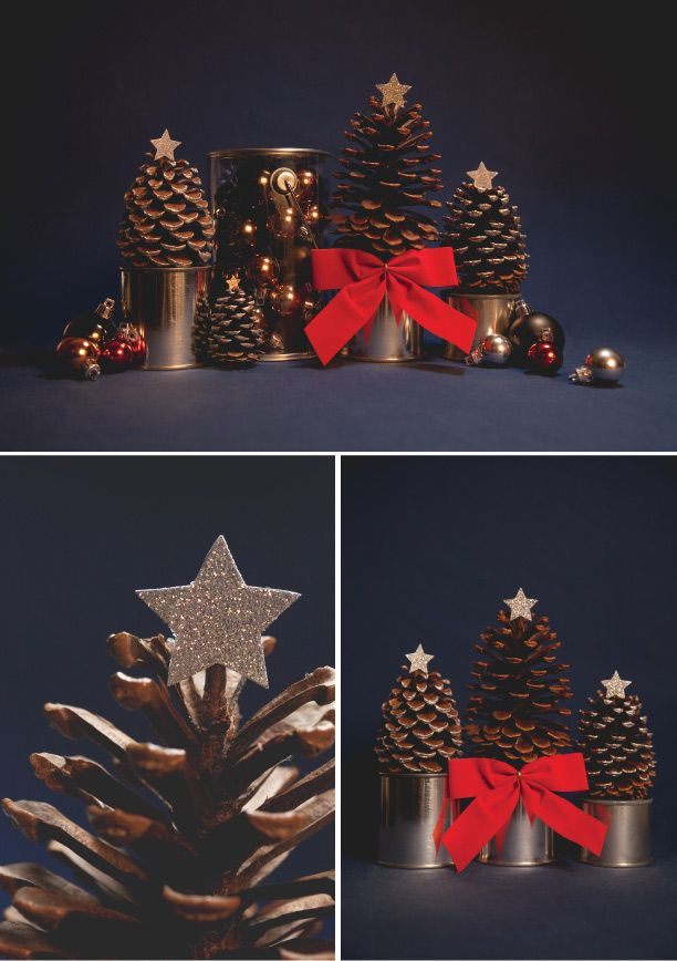 Cute pine cone Christmas trees on paint cans. Perfect for decorating small spaces!