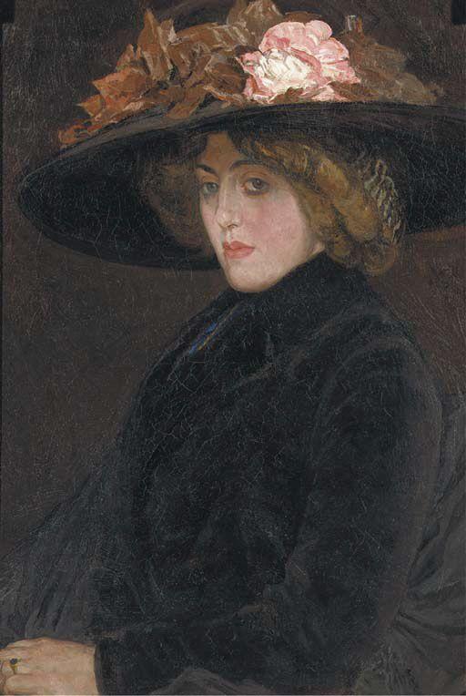 Leo Gestel : Portrait of an elegant lady with a hat