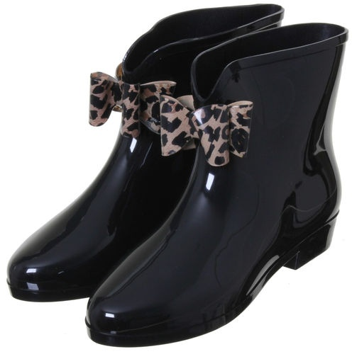 Women's Front Bow Ankle Length Short Wellies