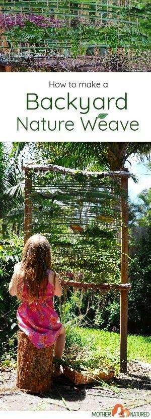 Nature weaving for kids #natureweaving #backyardideas #natureplay