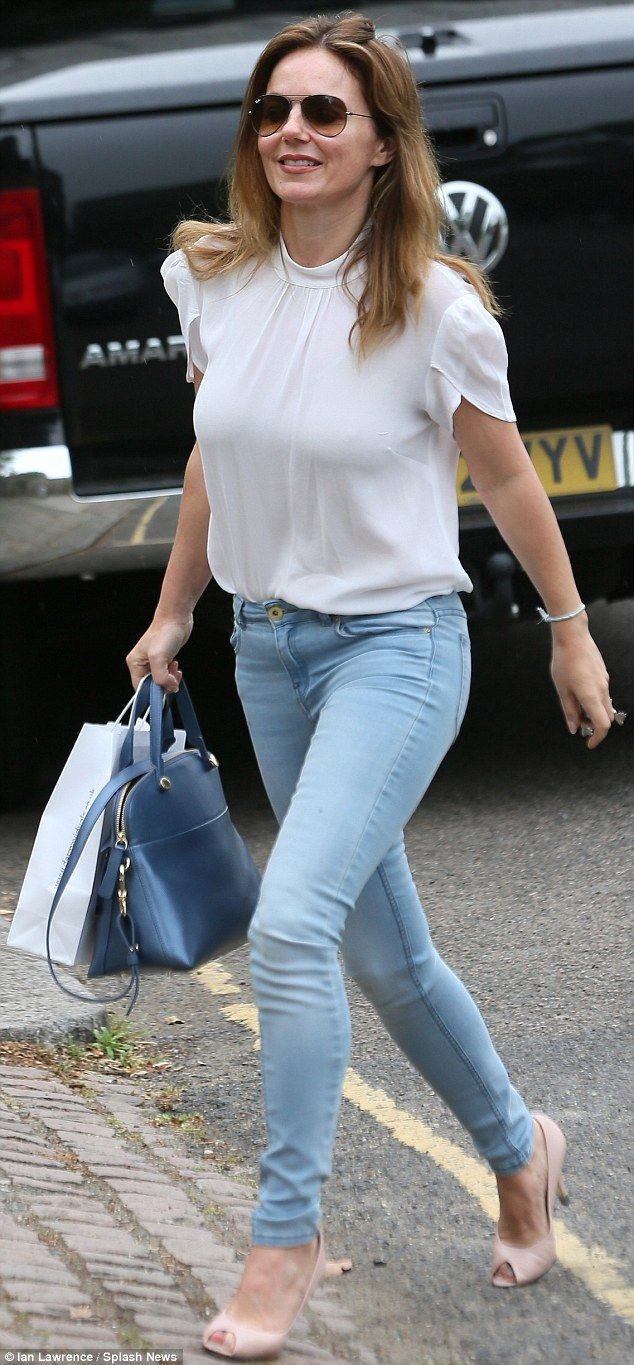 Radiant: Geri Halliwell put on a leggy display in tight skinny jeans as she left a beauty ...