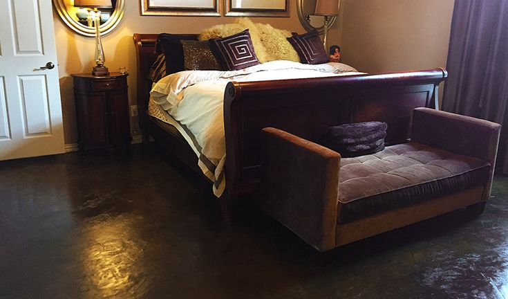 Stained concrete bedroom floor are an idea flooring option for those who suffer from allergies, and for those who prefer easy maintenance. #StainedConcrete #StainedFlooring