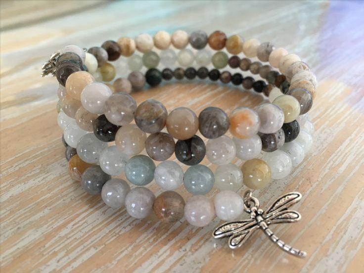 Bamboo Agate, Nature Grass Flower & Aquamarine, memory wire wrap bracelet