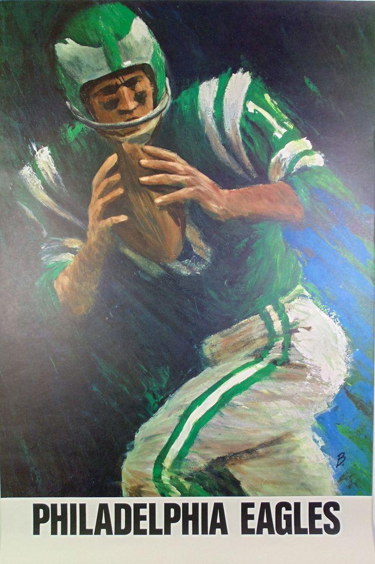 Vintage Eagles 1960s NFL poster art by David Boss