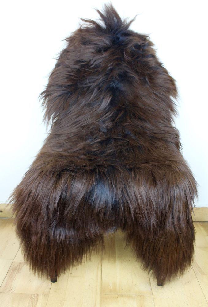 XL Large Genuine Icelandic Dyed Dark Brisa Brown Maroon Sheepskin Sheep Fur Rug…