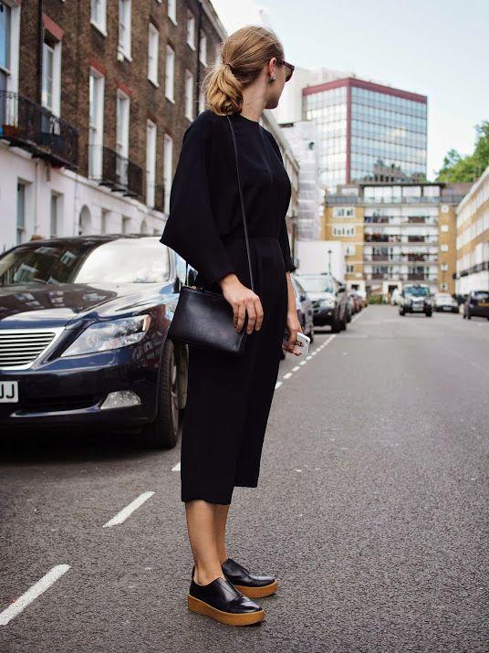 black dress & platform oxfords #style #fashion