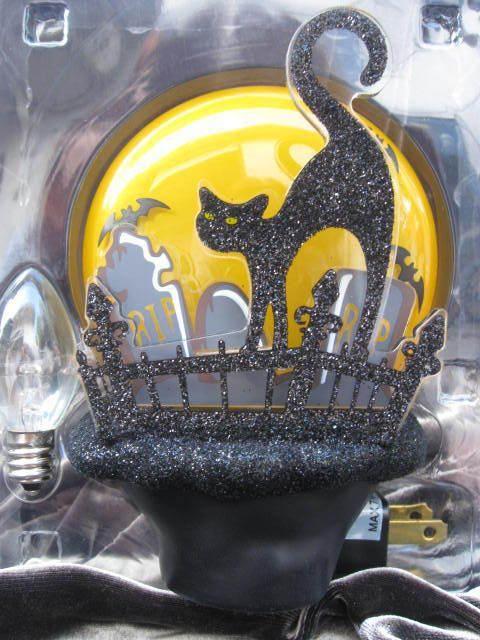 Black Cat On Fence With Full Moon Bats Cemetery Halloween Night Light