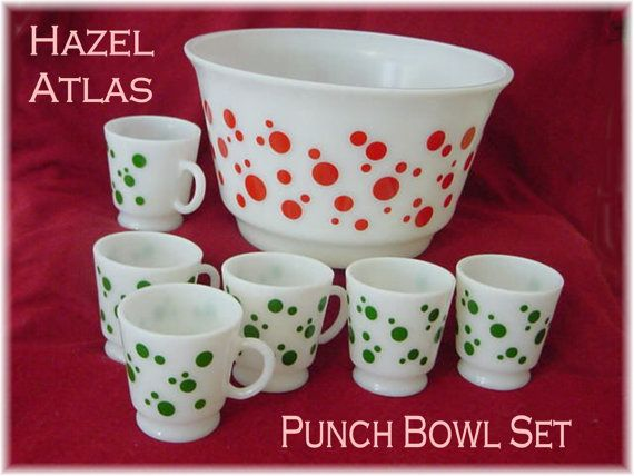 Hazel Atlas ~ 1950 Polka Dot Christmas Punch Bowl 6 Cups with Handles Holiday Party
