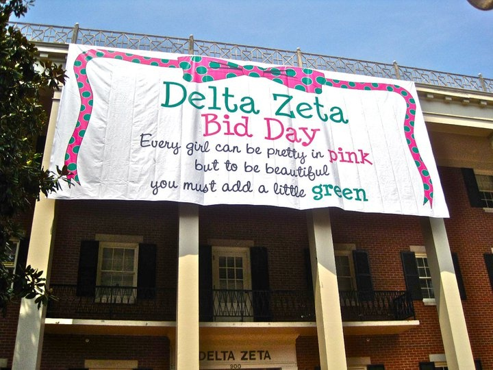 Every girl can be pretty in pink, but to be beautiful you have to add a little green. That's cute!: College Ideas, Bid Day, Deltazeta, University Of Alabama, Recruitment Ideas, Sorority Life, Deezee, Greek Life, Banners Posters