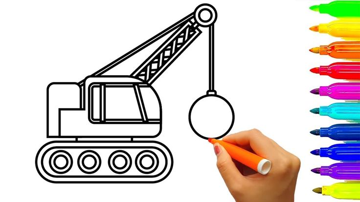 Learn colors with crane truck coloring pages, construction vehicles for ...