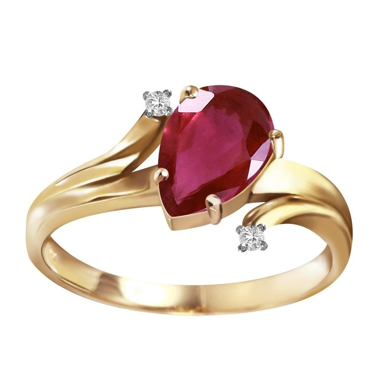 1.51 Carat 14k Solid Gold Ring with Genuine Diamonds and Natural Pear-shaped Ruby