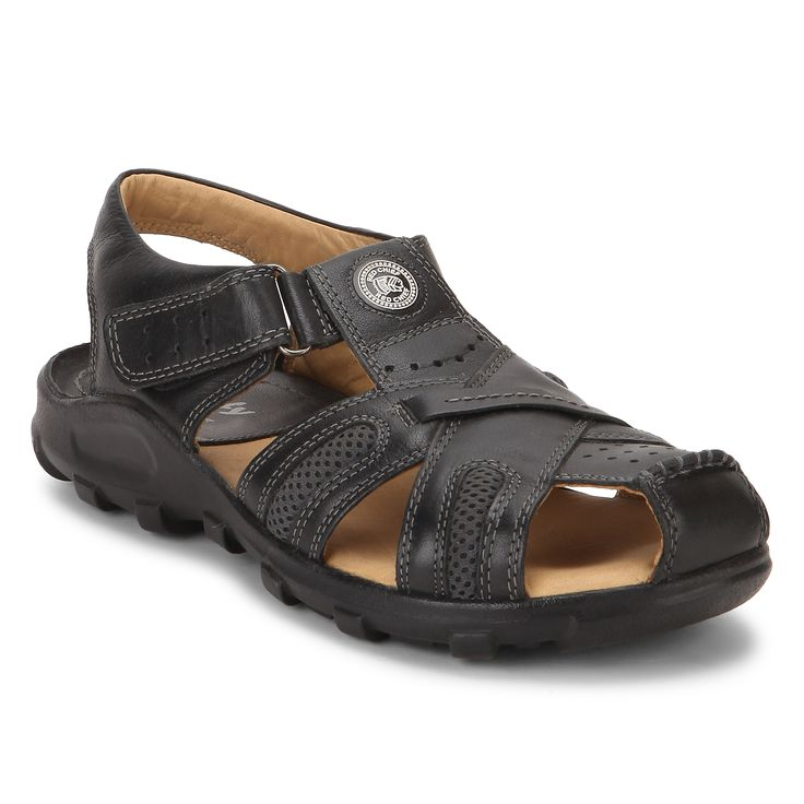 Stay comfortable in these Black slip on men's sandals brought to you by Red  Chief.