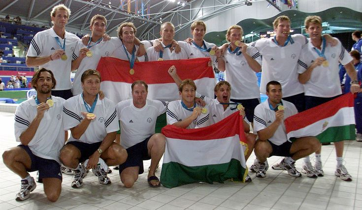 2000 in Sydney - The Hungarian waterpolo team with coach Dénes Kemény. They won 3 Olympic Gold in a row in 2000, 2004, 2008. - The 7th Olympic gold medal of the Hungarian water polo team