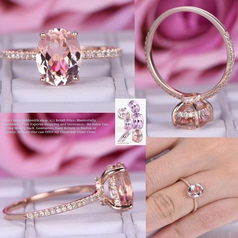 Oval Morganite Engagement Ring Pave Diamond Wedding 14K Rose Gold 7x9mm