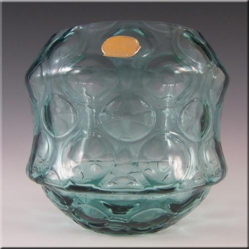 Borske Sklo 1950's Blue Glass Optical 'Olives' Vase