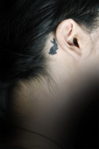 rabbit tattoo ear