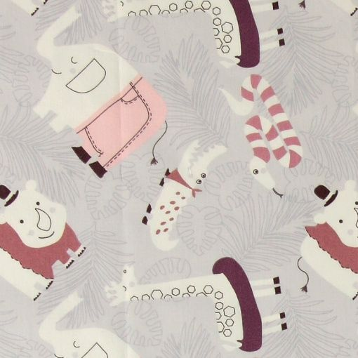 Cotton light grey w jungle print