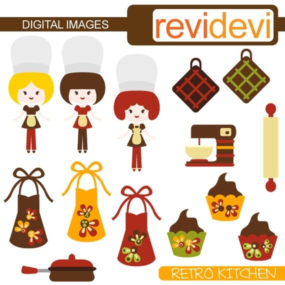 Kitchen themed clipart with girl chef aprons cupcakes. by revidevi