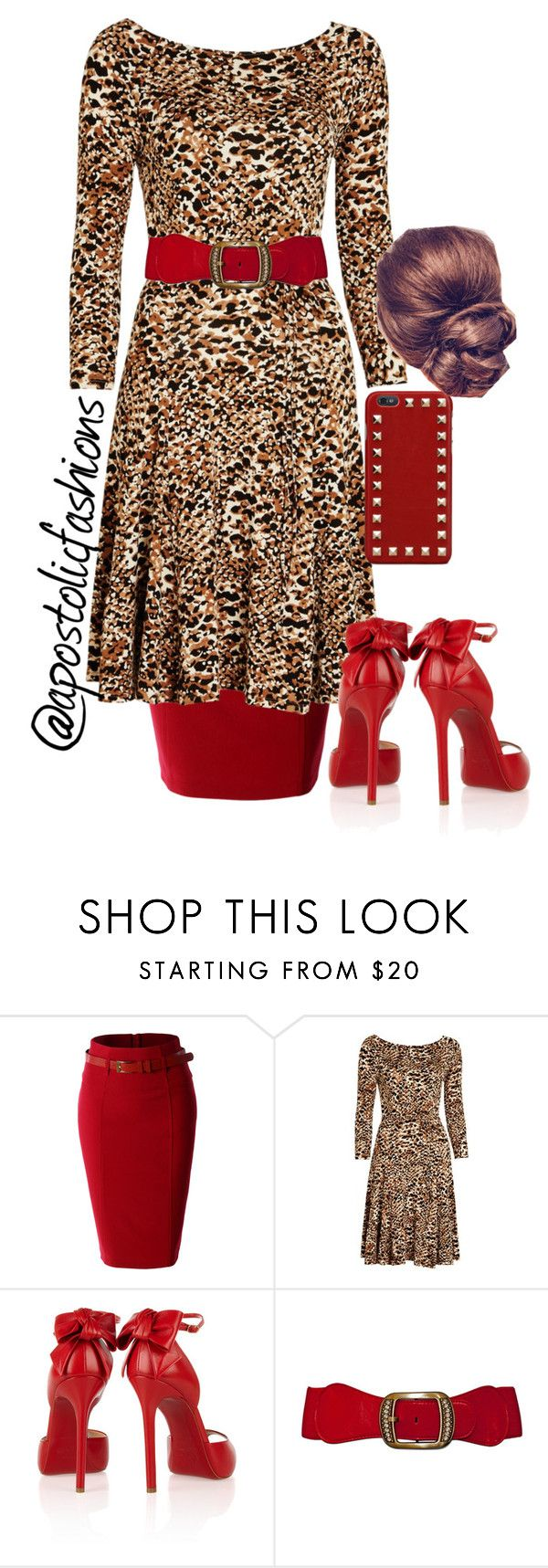 """Apostolic Fashions #907"" by apostolicfashions on Polyvore featuring LE3NO, Lauren Ralph Lauren, Christian Louboutin and Valentino"