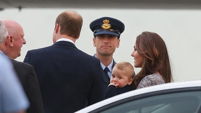 carrying George into jet headed from Sydney to New Zealand #katemiddleton