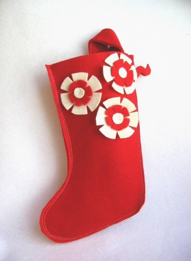 Christmas Stocking Craft Ideas Part - 15: Modern Recycled Felt Christmas Stocking In Red With Red And Cream / Ivory  Flowers. Kids Arts And CraftsArt ...
