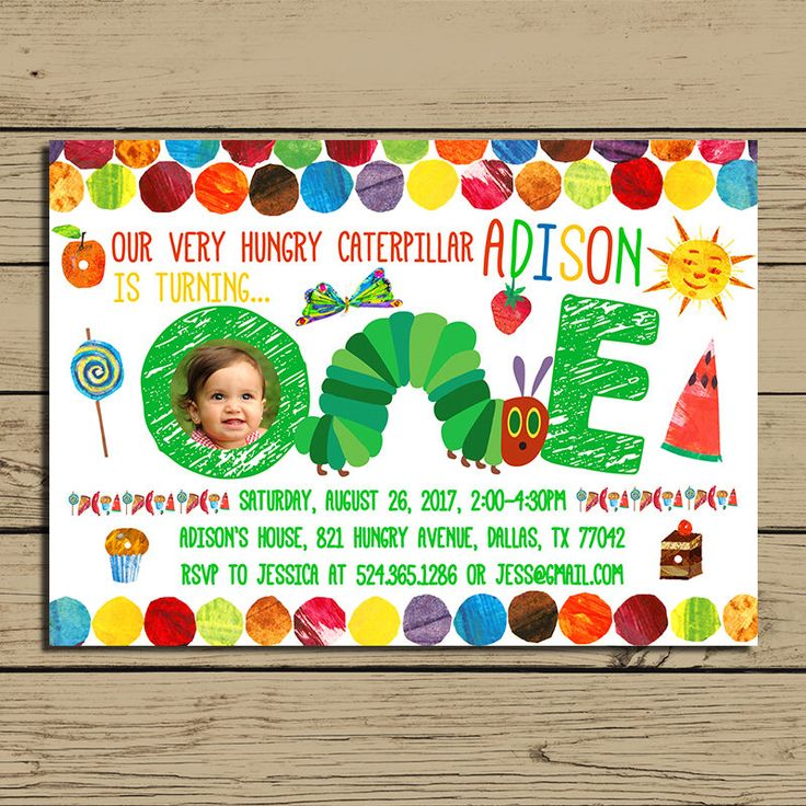 Very Hungry Caterpillar Invitation - The Very Hungry Caterpillar Birthday Party Invite - With Photo - With Free Backside - YOU PRINT by 7LuckyDesign on Etsy https://www.etsy.com/listing/537074037/very-hungry-caterpillar-invitation-the