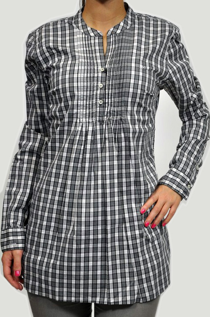 Camicia SUN68 con scacco in bianco, grigio e nero, e riga in rosso