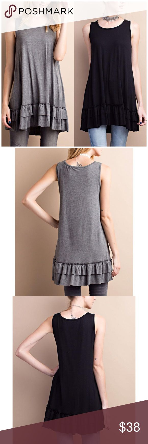 Sleeveless Double Ruffle Tunic Top Sleeveless round neck. Soft heavy rayon/ spandex material. Loose fit flow tunic with double ruffle. 95% rayon, 5% spandex. Available in Black or gray    Fits true to size  Follow us on Instagram for awesome perks! @b_chic_boutique B Chic Boutique Tops Tunics
