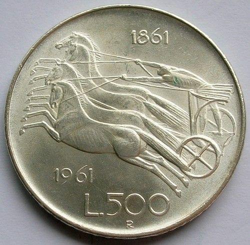 1961 ITALY SILVER 500 LIRE COIN ITALIAN UNIFICATION CENTENNIAL