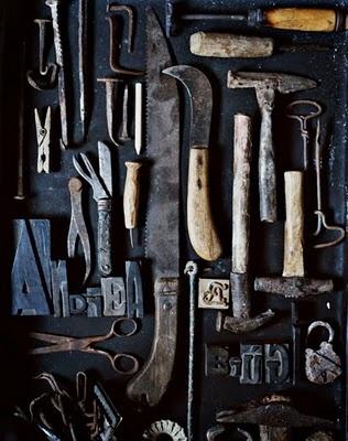 antique printers' tools