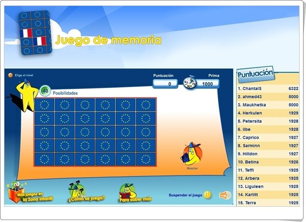 """""""Juego de memoria"""" es un juego de la Unión Europea como los juegos ya clásicos de memoria pero, esta vez, se ocupa de las banderas europeas y sirve para afianzar su conocimiento. Buen medio para celebrar el Día de Europa, día 9 de mayo."""