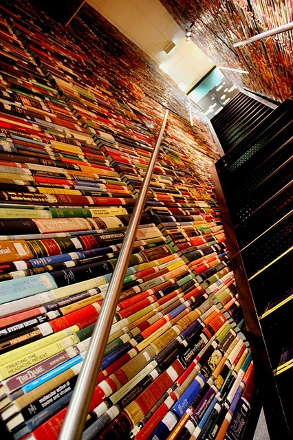 A very interesting staircase made of real books@ Deakin University Library(Waurn Ponds campus), Geelong, Australia. by hassan_sheikh344, via Flickr