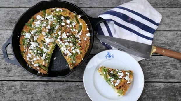 Recipe: Sam Mannering's asparagus frittata with feta, pine nuts and mint | Stuff.co.nz