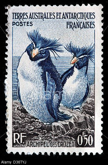 Rockhopper Penguins, French Southern and Antarctic Lands, a stamp for the Crozet Archipelago, 1956