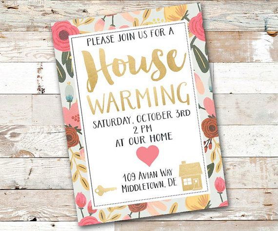 Gold and Floral Housewarming Party Invitation - Printable House Warming Party Invite - Gold Floral New Home Party Invitation - Printable on Etsy, $8.00