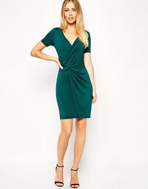 Image 4 ofASOS TALL Wrap Front Bodycon Dress