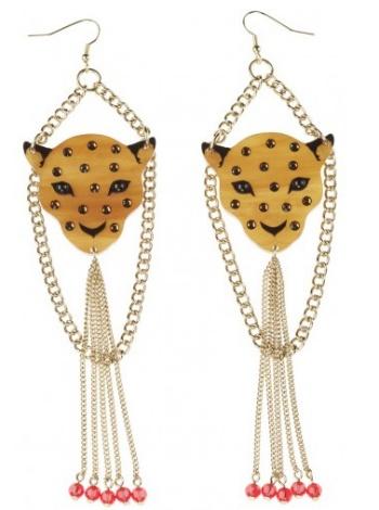 Leopard Head Drop Earrings, via Tatty Devine)