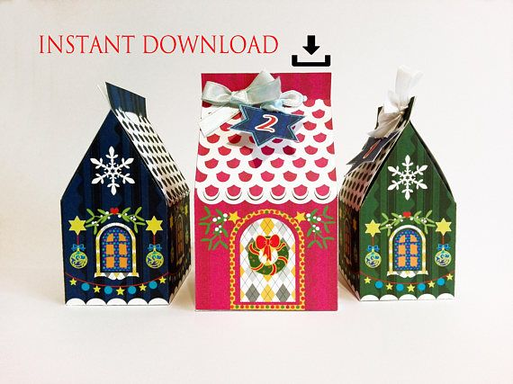Instant DOWNLOAD Christmas gingerbread printable paper house