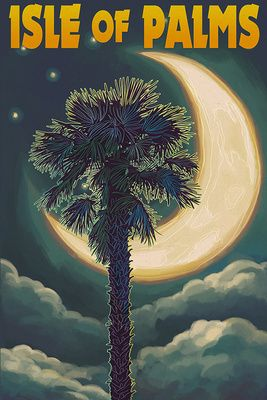 Isle of Palms, South Carolina - Palmetto Moon & Palm - Lantern Press Poster