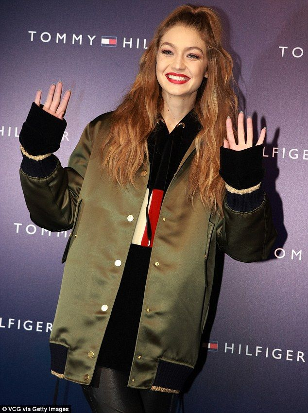 International campaign: Gigi was taking part in a Tommy Hilfiger campaign in Shanghai on Friday