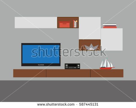 Modern Living room interior design - vector illustration format.