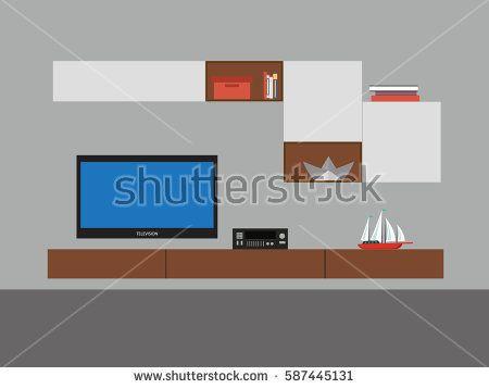 Modern Living room interior design - vector illustration format.