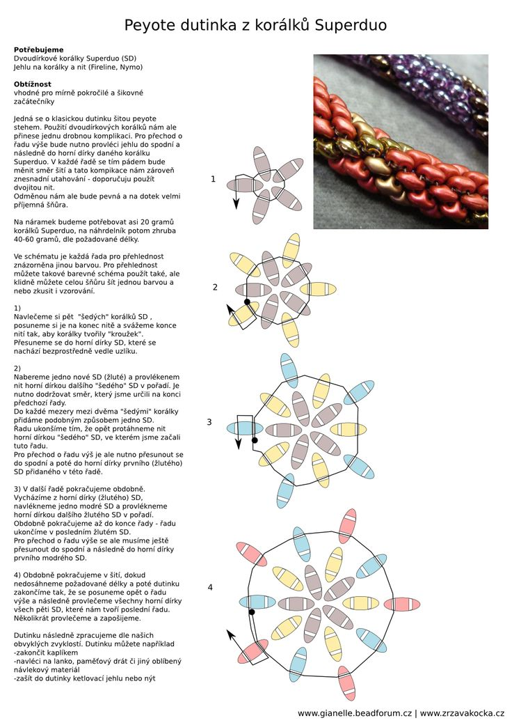 Návod – dutinka z dvoudírkových korálků Superduo | Korálkárna Zrzavá Kočka Brno
