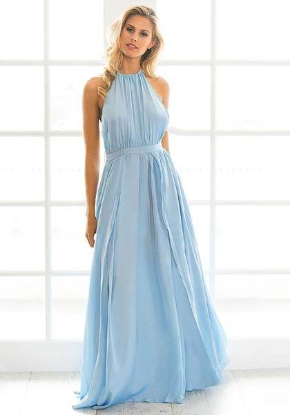 Let's Celebrate // Look strikingly beautiful by donning those powder blue M-slit halter dress.