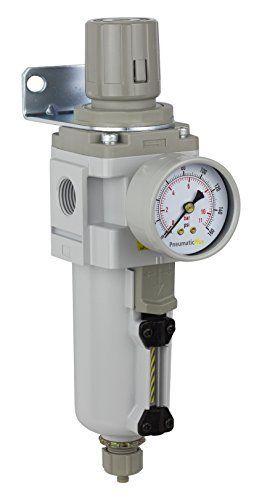 "PneumaticPlus SAW4000M-N04BG-MEP Compressed Air Filter Regulator Combo Piggyback Style 1/2"" NPT - Manual Drain, Metal Bowl, 10 Micron with Gauge. 1/2"" NPT Piggyback Filter Regulator Unit. Max Supply Pressure: 250 PSI, Max Operating Pressure: 150 PSI. 106 SCFM, 10 Micron Element Standard. Manual Drain & Metal Bowl, Includes 0-150 Gauage & Bracket."