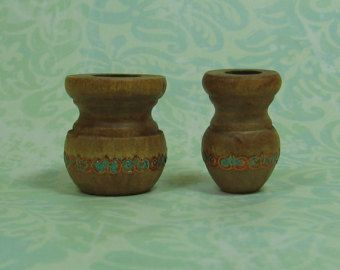 Dollhouse Miniature Set of Two Decorated Wood Planters/Vases - C