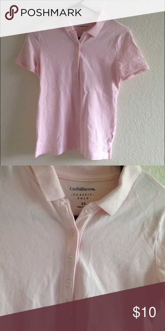 Women's Polo in Light Pink Croft&Borrow Women's Classic Polo in light pink 👚 Super comfy and stretchy as well! Size XS but fits more a S-M.  #poloshirt #polo #pink #lightpink #school #uniform #schooluniform #classy #sale #forever21 #clearance #oldnavy #gap #classy Tops Button Down Shirts