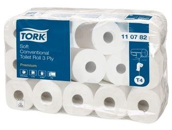 Hartie igienica Tork, conventionala, potrivita pentru toate tipurile de toalete.